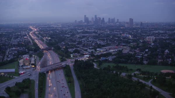 Aerial shot of Houston downtown at dawn, Texas, United States of America Rights-managed stock video
