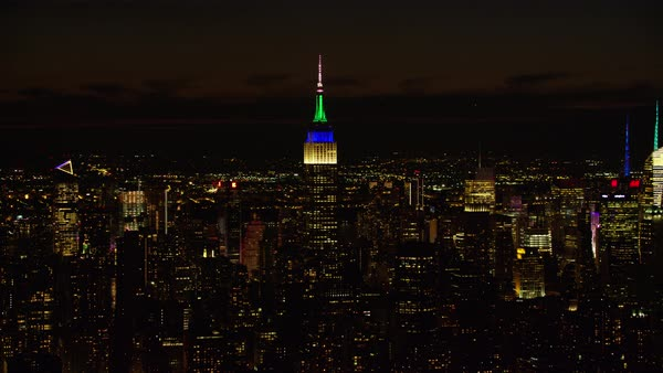 Aerial shot of Empire State Building at night Rights-managed stock video