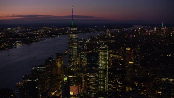 Aerial shot of illuminated One World Trade Center Rights-managed stock video