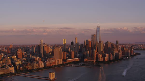 Aerial shot of skyline of Lower Manhattan with One World Trade Center Rights-managed stock video