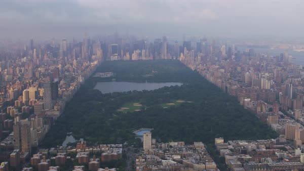 Aerial shot of Central Park Rights-managed stock video