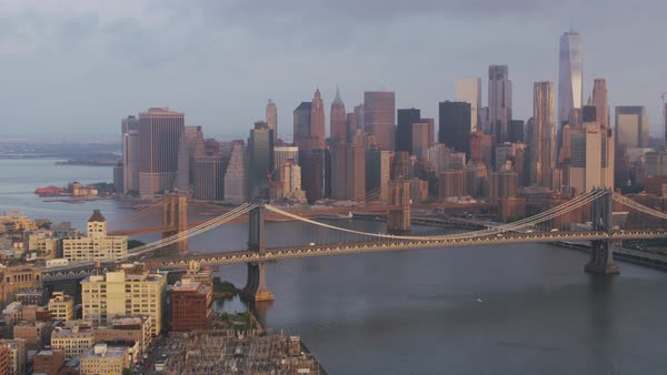 Aerial shot of New York cityscape seen from above East River Rights-managed stock video