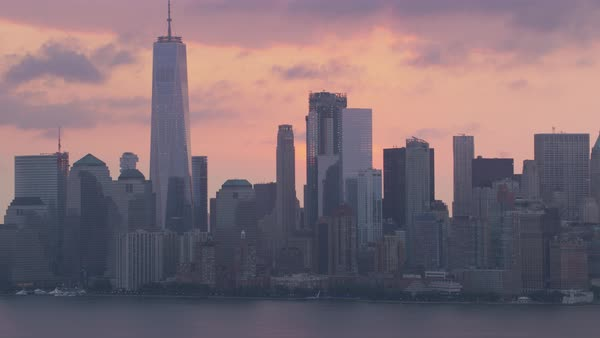 Aerial shot of sunrise over Manhattan Rights-managed stock video