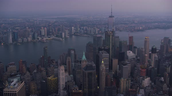 Aerial shot of skyscrapers of Lower Manhattan Rights-managed stock video