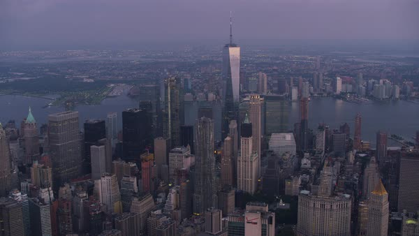 Aerial shot of skyscrapers in Lower Manhattan Rights-managed stock video