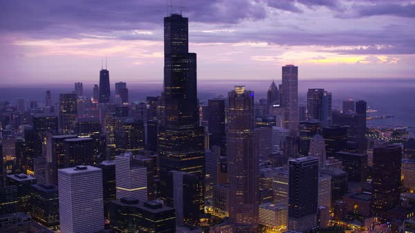 Aerial shot of cityscape of downtown Chicago with Willis Tower Rights-managed stock video