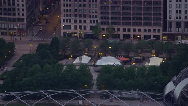 Aerial shot of Cloud Gate sculpture in Millennium Park Rights-managed stock video