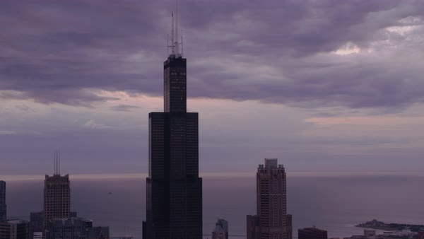 Aerial shot of Willis Tower in downtown Chicago Rights-managed stock video