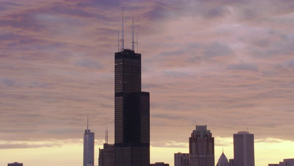 Push-out shot of Willis Tower in downtown Chicago Rights-managed stock video
