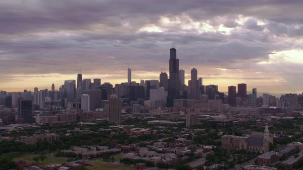 Aerial shot of downtown Chicago skyline at sunrise Rights-managed stock video