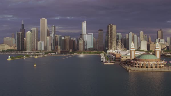 Aerial shot of skyscrapers at mouth of Chicago River Rights-managed stock video