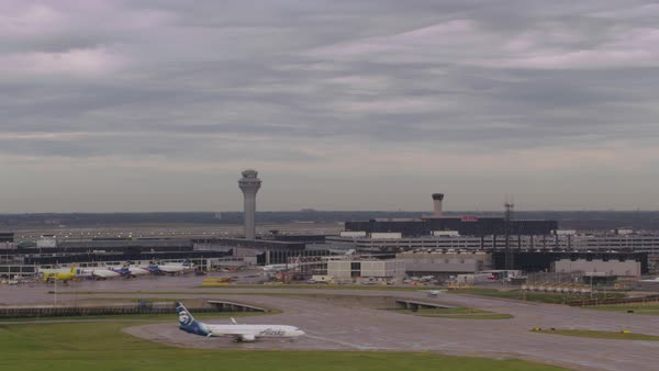 Aerial shot of O'Hare International Airport in Chicago Rights-managed stock video