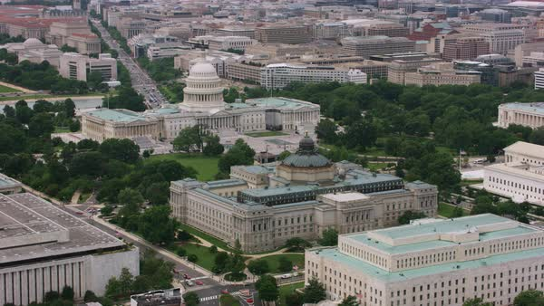 Aerial shot of the Library of Congress in Washington DC Rights-managed stock video