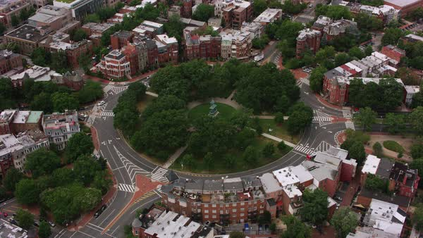 Aerial shot of Logan Circle in Washington DC Rights-managed stock video