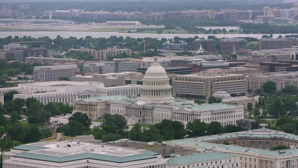 Aerial shot of the United States Capitol Building Rights-managed stock video