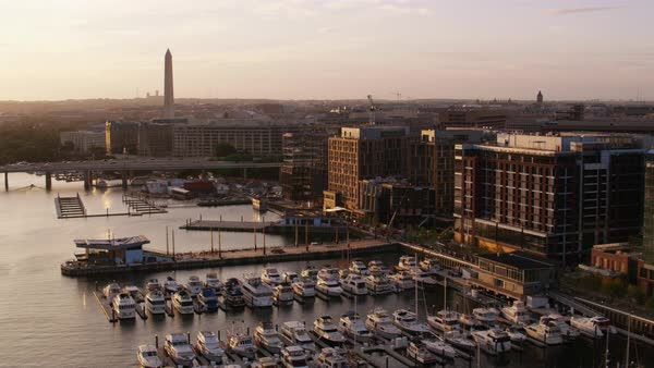 Aerial shot of The Wharf with Washington Monument in background Rights-managed stock video