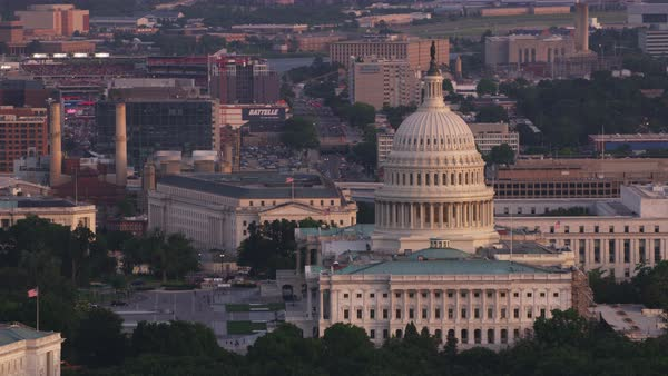 Aerial shot of United States Capitol Rights-managed stock video
