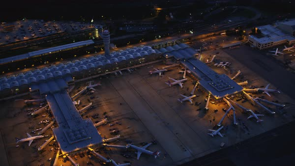 Aerial shot of Ronald Reagan Washington National Airport at dusk Rights-managed stock video