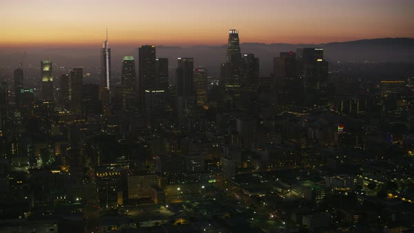Aerial shot of skyscrapers in downtown Los Angeles Rights-managed stock video