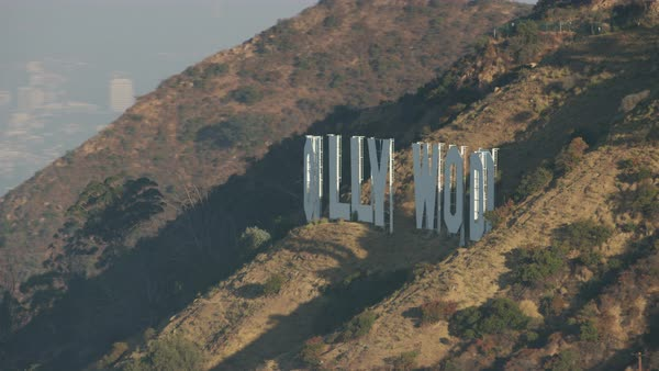 Aerial shot of Hollywood Sign on Mount Lee Rights-managed stock video