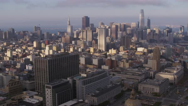 Aerial shot of skyline of downtown San Francisco Rights-managed stock video