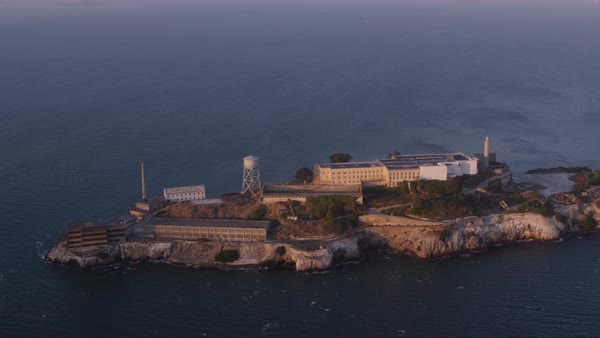 Aerial shot of Alcatraz Island in San Francisco Bay Rights-managed stock video