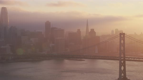 Aerial shot of San Francisco skyline with San Francisco-Oakland Bay Bridge Rights-managed stock video