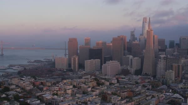 Aerial shot of downtown San Francisco with Coit Tower Rights-managed stock video