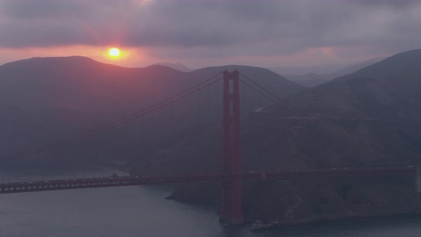 Aerial shot of a pillar of Golden Gate Bridge Rights-managed stock video