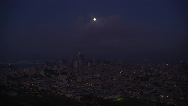 Aerial shot of San Francisco cityscape with full moon Rights-managed stock video