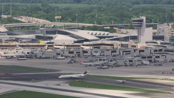 Aerial shot of Philadelphia International Airport Rights-managed stock video