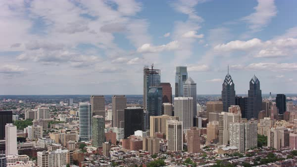 Aerial shot of skyline of downtown Philadelphia Rights-managed stock video