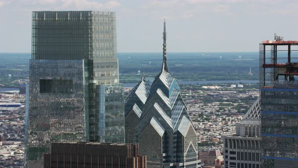 Aerial shot of Liberty Place skyscraper complex in Philadelphia Rights-managed stock video