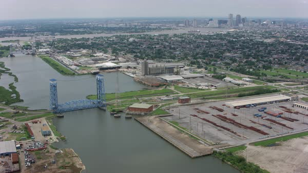 Aerial shot of New Orleans cityscape with Industrial Canal and skyline of downtown Rights-managed stock video