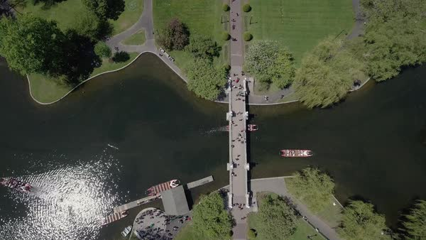 Drone shot of a bridge over a lake in a park in Boston Royalty-free stock video