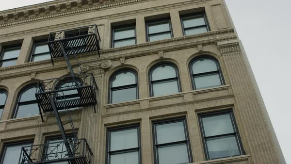 Exterior of a building with fire escape Royalty-free stock video