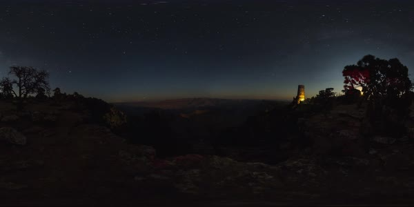 360 timelapse of sunrise over Desert View Watchtower, Grand Canyon, Arizona. Rights-managed stock video