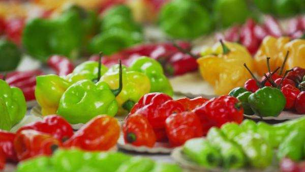 Close-up panning shot of purple garlic and pepper varieties in a market in  Rio de Janeiro, Brazil stock footage
