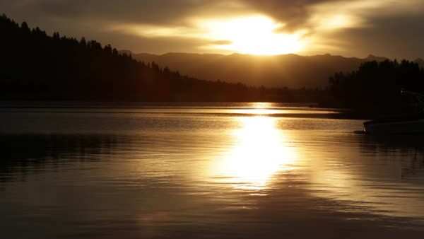 View of lake at sunset in Montana. Royalty-free stock video