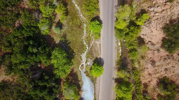 Top down view of road and hot spring in canyon as river flows down stream. Royalty-free stock video