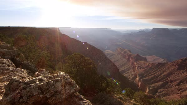 Panning view of the Grand Canyon with Sun Flares from the South Rim at Navajo Point. Royalty-free stock video