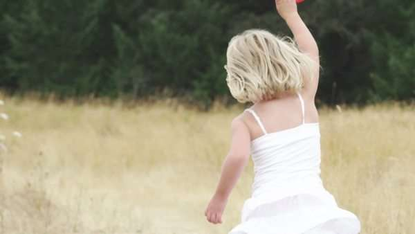 An adorable girl in a cute dress flies a kite in a field. Royalty-free stock video