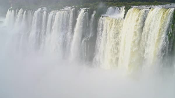 Brazillian side of falls with rising mists Royalty-free stock video