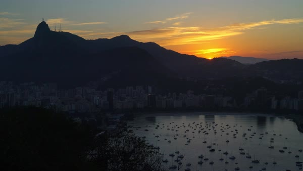 Sunset sailboats in the Bay in Rio Royalty-free stock video