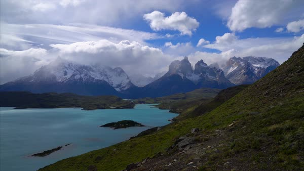 Torres del Paine clouds and mountains time lapse Royalty-free stock video