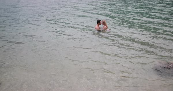Couple in love in lake Royalty-free stock video