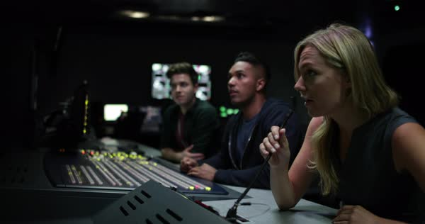Operators in a control room at a television studio Royalty-free stock video