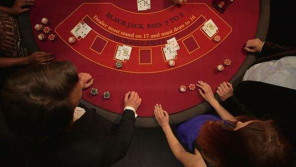 Birdseye Panning close-up of Players Gambling in the Casino Royalty-free stock video
