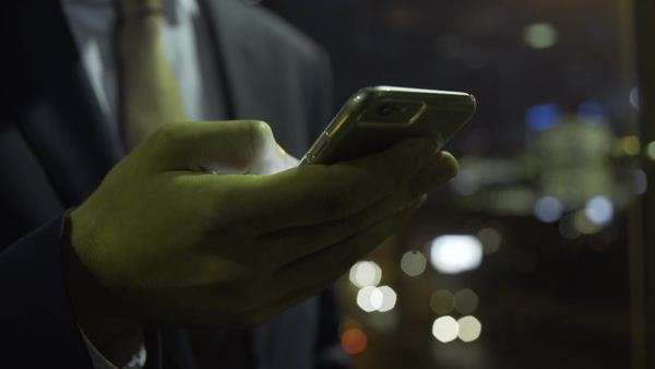 Close-up hand of business man on smart phone Royalty-free stock video