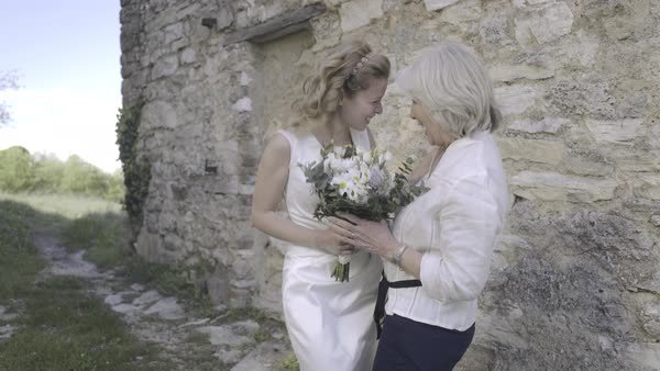 Three generations of women on wedding day Royalty-free stock video